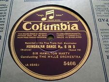 BRAHMS HUNGARIAN DANCE NO 6 IN D SIR HAMILTON HARTY & HALLE ORCH COLUMBIA 5466
