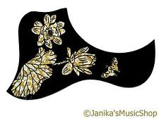 Acoustic guitar pick guard duck scratch plate silver gold flowers butterfly