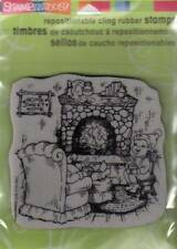 New Stampendous RUBBER STAMP cling Vintage Fireside Christmas Free USA ship
