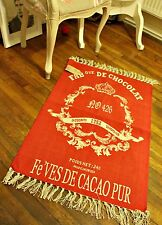 100% Cotton French Shabby Chic Royal Red Chateau Tassel Rug Damask Tea Chocolate
