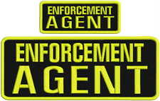 ENFORCEMENT AGENT embroidery patches 4x10 and 2x5 hook on back yellow