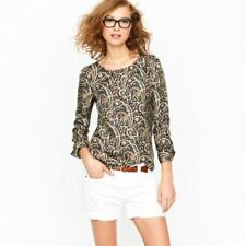J. Crew Talitha Popover Blouse in Feather Paisley Silk Shirt Size 10 Top
