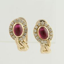 Synthetic Ruby & Diamond Earrings - 14k Yellow Gold Pierced Fine 2.42ctw