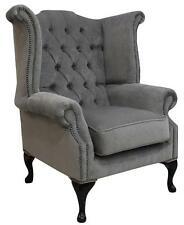 Chesterfield Queen Anne High Back Wing Chair Pimlico Grey Fabric