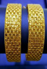 Gold Bangles Pair 22k in High Gloss Polish In Solid Yellow