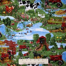 Tractor Fabric - Farmall Tractor Farm Scene Green - Print Concepts YARD