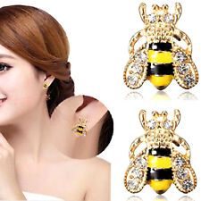Bee Earrings Stud Crystal Rhinestone Gold Vintage Retro Cute Ear Birthday Gift