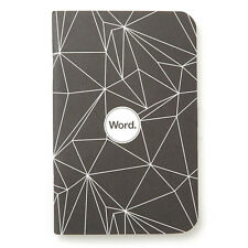 "Pack of 3 Word Notebooks, Pocket Size, 3.5"" x 5.5"", Black Polygon"