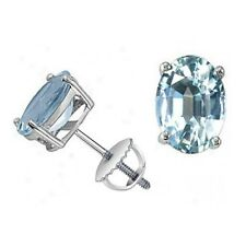 Special Offer...!! 8 mm * 6 mm 2.00 Carat Aquamarine Stud Earrings- Screw Back