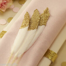 Gold Glitter dipped Feathers Wedding Table decoration Favour - Pastel Perfection