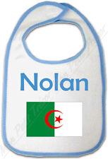 Bavoir Bleu Drapeau Algérie avec Prénom Personnalisé
