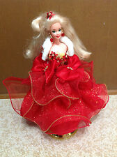 1993 Special Edition Barbie Doll Evening Gown Holiday Red Gold Dress Green Eye