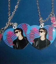 Justin Bieber Best Friends Heart Pendant Necklaces Set of 2 BFF Bravado NWT