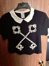 Drop Dead Clothing The Lock Up Crop Top Keys and Lock Peter Pan Collar Top