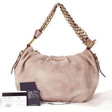 Authentic PRADA Logos Chain Shoulder Bag Leather Pink Gold BR4243 Vintage 30K341