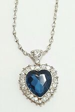 """Vintage Silver Tone Blue and Clear Rhinestone Heart Pendant Necklace 18"""""""