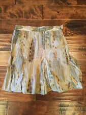 Fei Anthropologie Pleated Skirt With Feather Print, Size 4