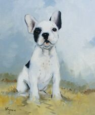 Original Oil painting -  portrait of a french bulldog dog  by j payne