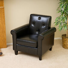 Modern Design Black Leather Club Chair w/ Tufted Button Accents