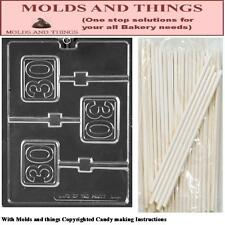 Number 30th Lolly Chocolate candy mold +25 Sticks