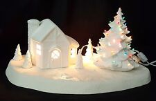 Winter Christmas Cabin Cottage Scene - Ready to Paint Ceramic Bisque