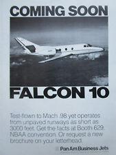 9/1972 PUB PAN AM BUSINESS JETS DASSAULT FALCON 10 MACH 0.98 NBAA ORIGINAL AD