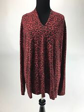 Talbots Red Leopard Print V Neck Rayon/Spandex Top Blouse Size 2X EUC