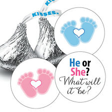 108 Boy Or Girl? Gender Reveal Baby Shower Hershey Kiss Candy Stickers - He or S