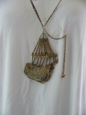 VINTAGE NECKLACE X-LARGE SHIP/SAILBOAT MERMAID METAL #3700