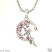 "W Swarovski Crystal Tinkerbell Moon TINKER Fairy Pink Pendant Necklace 18"" Chain"