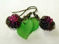 Sweet Little Blackberry Earrings Bright Green Leaves Pretty Nature Girl