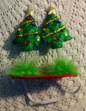 Dog Christmas hat Size M/L two green Christmas trees with stars  jm92016