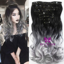 "20""~24"" Full Head Clip in Ombre Hair Extensions 7 Pieces 16 Clips Straight Wavy"