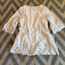 New ANTHROPOLOGIE White Eyelet Scalloped Lace Detail Boho Tunic Top Blouse Small