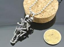 Men Infinity Tibet Silver Black Stainless Steel Skull Pendant Chain Necklace HOC
