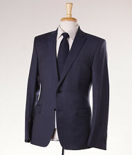 NWT $1395 VERSACE COLLECTION Slate Blue Stripe Wool Suit Slim 38 R (Eu 48)