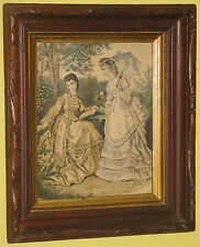 ~Antique Wood Picture Frame with French La Mode Illustree Victorian Women~