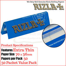 50 Packs Blue Rizla Regular Smoking Papers - Free Delivery