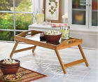 BAMBOO wood folding Lap Desk Table stand Tray Laptop TV breakfast bed serving