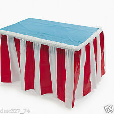 CIRCUS CARNIVAL Big Top Decoration Pleated RED and WHITE STRIPED TABLE SKIRT