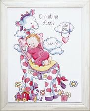 DESIGN WORKS - TOBIN BABY - GIRAFFE BABY GIRL SAMPLER CROSS STITCH KIT (T21733)