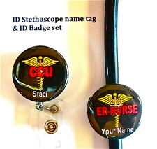 CCU ID STETHOSCOPE NAME TAG SET, NURSE,MEDICAL,LANYARD, TECH,PT, C/B LVN, PT,
