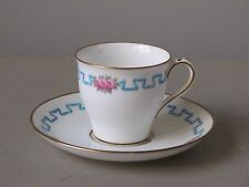 Antique Minton Demitasse Cup and Saucer Set, Hand Painted Enamel with Gold Trim