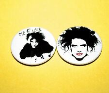 SET OF TWO THE CURE ROBERT SMITH BUTTON PIN BADGES