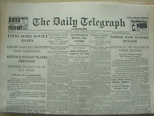 DAILY TELEGRAPH WWII NEWSPAPER JANUARY 5th 1940 FINLAND BOMBS SOVIET BASES
