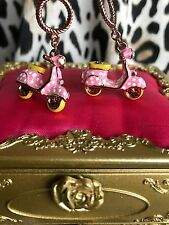 Betsey Johnson 60's Mod Retro GIRL POWER Pink Polka Dot Scooter Vespa Earrings