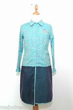 Ensemble CATIMINI C414 Chemisier Jupe turquoise cachemire Taille 10 - 12 ans TBE