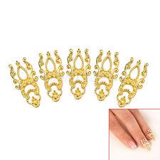 10x 3D Ongles Creux Doré Bling Bijoux Nail Art Manucure Bricolage Conseils Déco