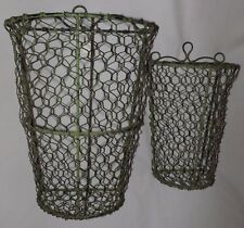 Primitive Rustic Urban Farmhouse Wire Wall Basket 2 Piece Set Distressed Green