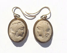 Lava Cameo Earrings Drop Carved Lava Victorian Edwardian Italian
